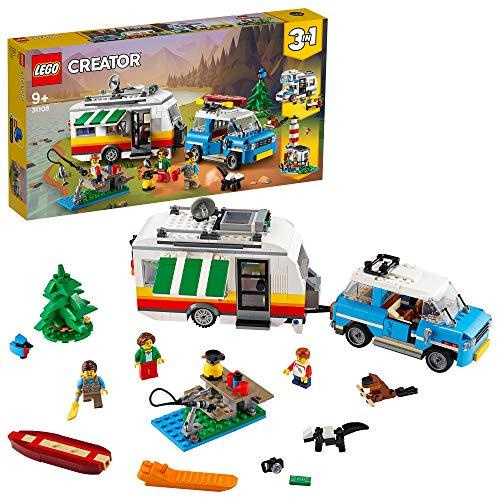 LEGO 31108 Creator 3-in-1 Campingurlaub Spielset mit Auto, Wohnmobil, Leuchtturm, Sommer-Bauspielzeug