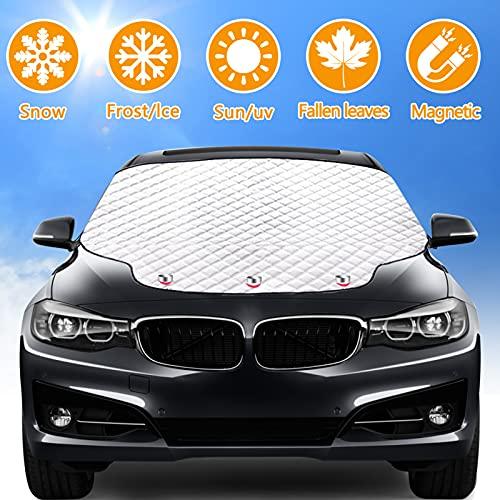 Rajvia Frontscheibenabdeckung Auto Sonnenschutz, Windschutzscheibenabdeckung Magnet Fixierung Faltbare...
