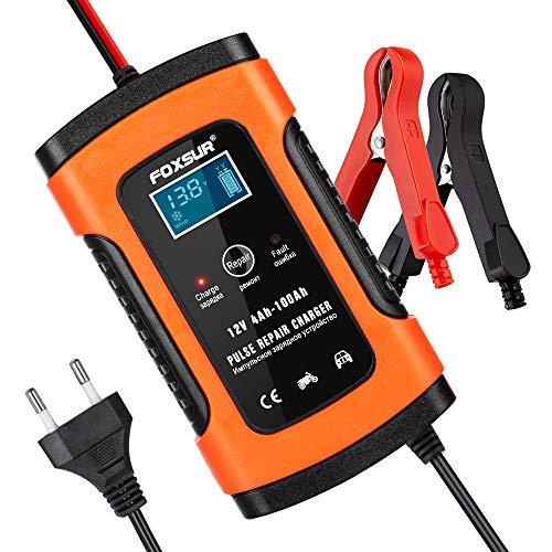 opamoo Batterie Ladegerät Auto, 5A 12V Vollautomatisches Batterieladegerät Auto Erhaltungsladegerät...