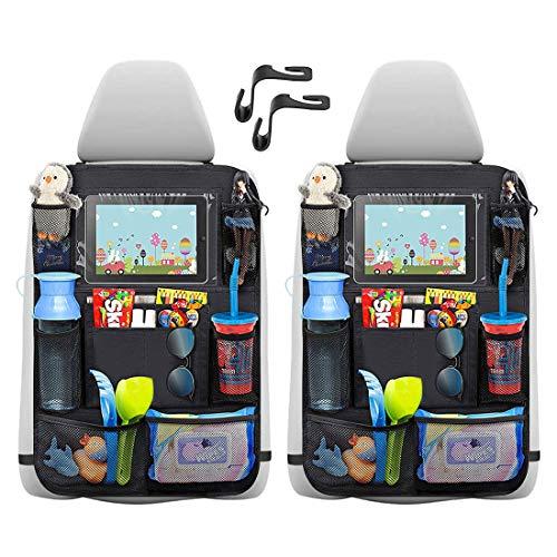 Auto-Rückenlehnenschutz (2 Stück),Rücksitzschoner mit 12 Zoll iPad/Tablet-Tasche,Trittschutz mit...