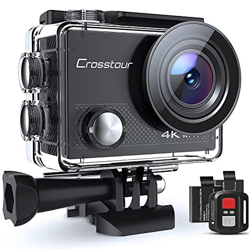 Action Cam 4K, Unterwasserkamera Crosstour CT9000 (20MP WiFi Wasserdicht 40M Helmkamera Fernbedienung und...