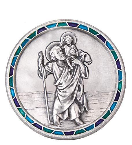 Fritz Cox Automedaille Christophorus modern, mit Mosaik-Rand blau
