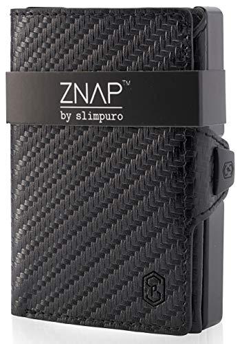 ZNAP Kreditkartenetui mit Geldklammer Aluminium und Münzfach - RFID Schutz - Slim Wallet Carbon -...