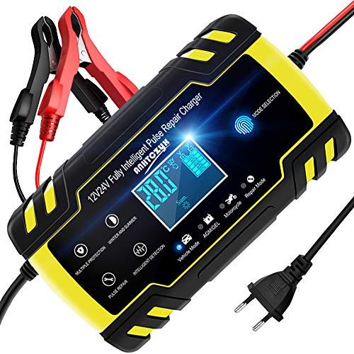 NWOUIIAY Autobatterie Ladegerät 8A/12V 4A/24V Batterieladegerät Auto Vollautomatisches Ladegerät mit...