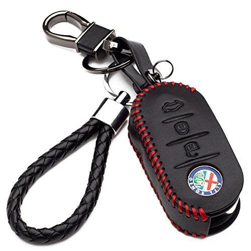 Hülle Autoschlüssel für Alfa Romeo Kunstleder Schutzhülle mit Schlüsselanhänger Schlüssel 3 Tasten...