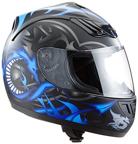 protectWEAR Motorradhelm, Integralhelm, Drachendesign (Schwarz/Silber/Blau), XS