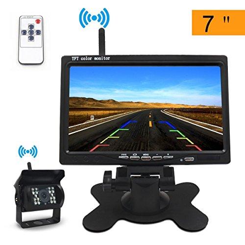 Rückfahrkamera Drahtlos Set, Directtyteam 7' LCD TFT Kabellos Rückfahrkamera Monitor Wasserdicht 18...