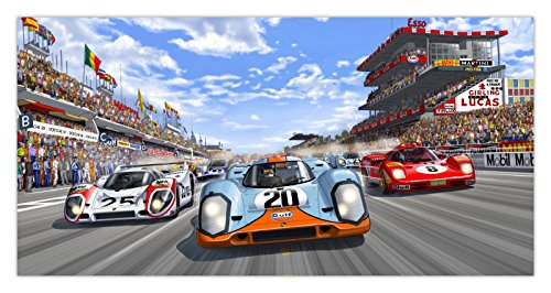 "Aus Steve McQueen in Le Mans - Perfekter Rennwagen mehrfarbiger Kunstdruck ""The Race Is ON"""