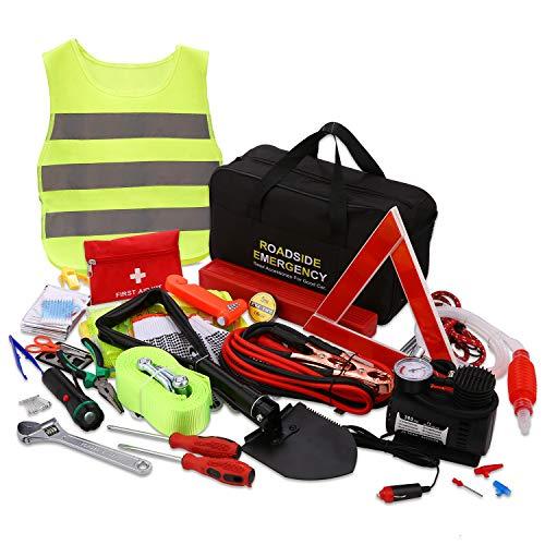 99 in 1 Auto Pannenset Verbandskasten Kfz Notfall Pannenhilfe Set Pkw Werkzeugset Sicherheit Kit mit...