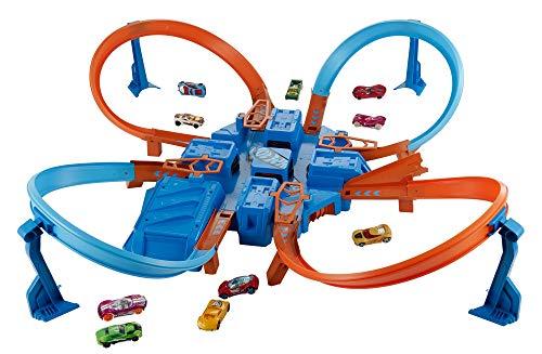 Hot Wheels DTN42 Action Criss Cross Crash Trackset, motorisiertes Auto Looping Spielset mit Parkplätzen...