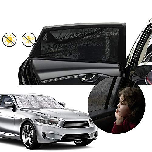OneAmg Sonnenschutz Auto Baby + Auto Sonnenschutz Frontscheibe, Selbsthaftende Sonnenblenden für Kinder...