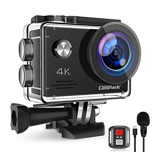 Campark Action Cam 4K 20MP WiFi Unterwasserkamera mit EIS Fernbedienung Externem Mikrofon Webcam...