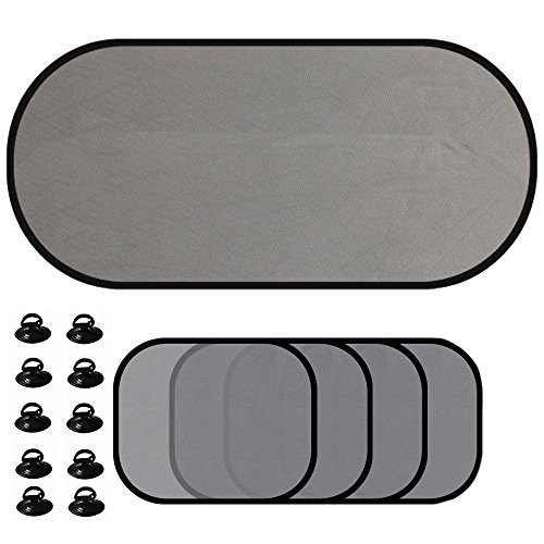 Delmkin Auto-Sonnenschutz 5-Set Sonnenblenden für Seitenfenster und Heckscheibe Schutz vor schädlicher...
