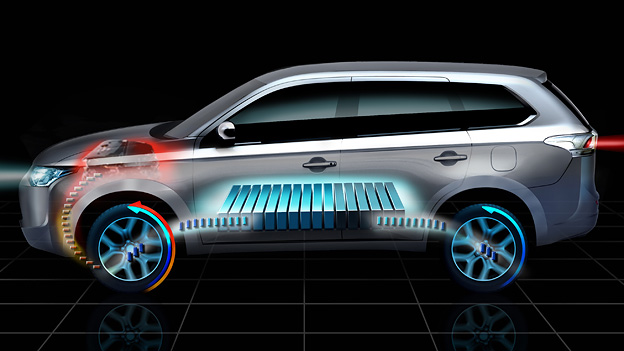 Mitsubishi Outlander Plug in Hybrid EV Autosalon Paris Messe News