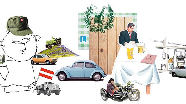 Wie ich das Auto lernte Grafik Thomas Kussin frühmotorisierte Geschichten aus der Provinz