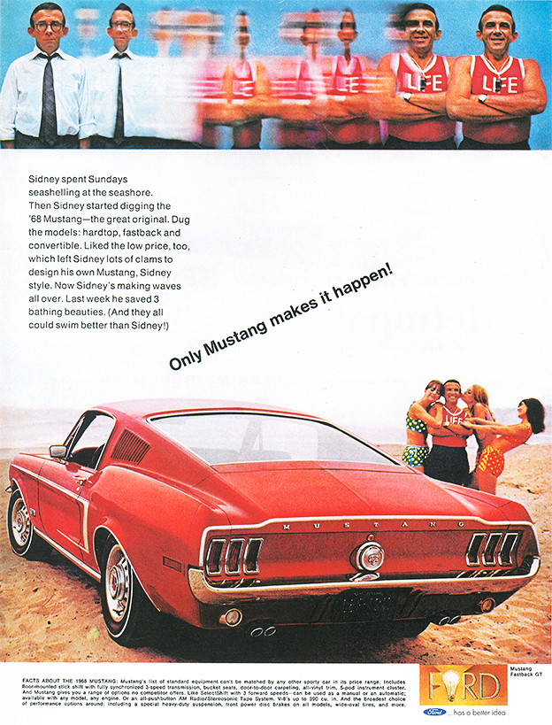 1968 ford mustang werbung. Black Bedroom Furniture Sets. Home Design Ideas