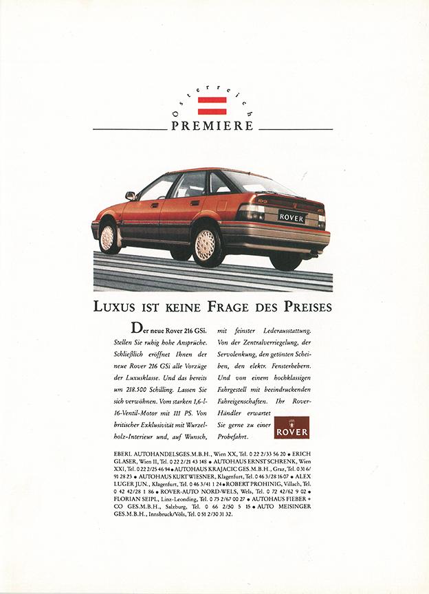 1990 - Rover 216 GSI Werbung