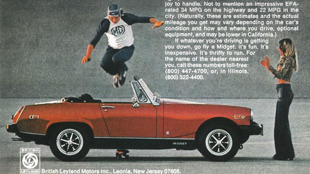 MG Midget Werbung aus dem Jahr 1977.