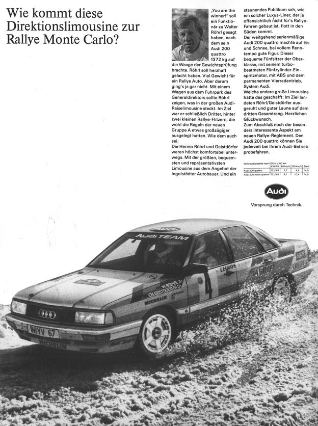 Audi quattro 200 Werbung - 1987