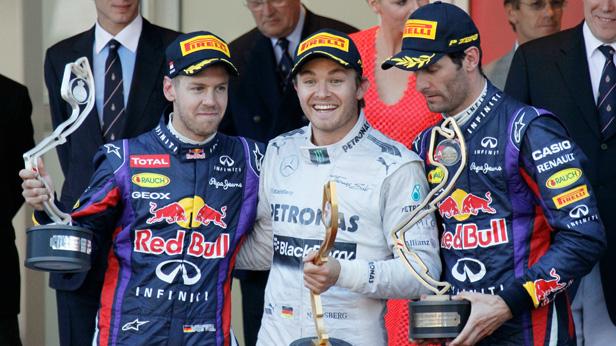 Formel 1 Monaco - Siegerfoto (Rosberg, Vettel, Webber)
