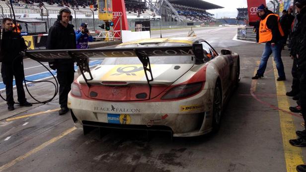 Siegerteam am Nürburgring 2013 auf dem Black Falcon SLS GT3