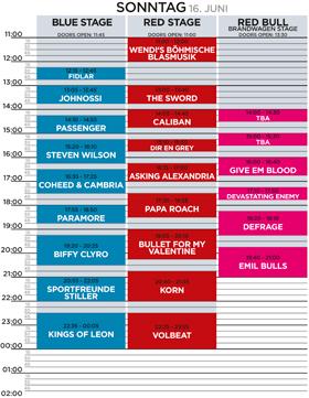 Nova Rock 2013 Programm Sonntag
