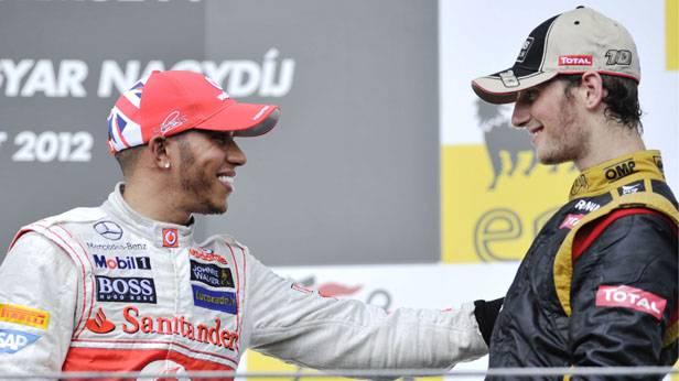 Der Sieger des GP von Ungarn 2012, Lewis Hamilton (Mc Laren Mercedes) und der Dritte Romain Grosjean (Lotus)