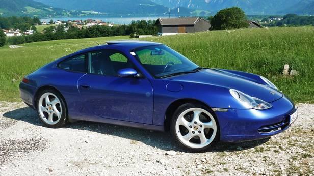 porsche 911 996 blau seite