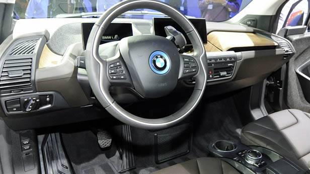 Der Innenraum des neuen Elektroautos von BMW, dem i3