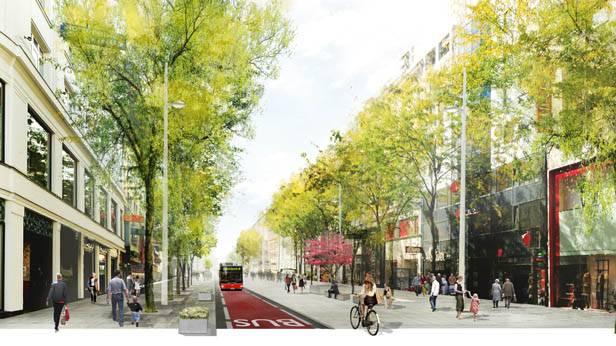 Ein rendering der neugestalteten Mariahilfer Straße