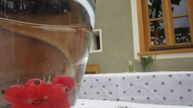Auf einem Tisch vor dem Wirtshaus Schramm steht ein Wasserglas mit Beeren