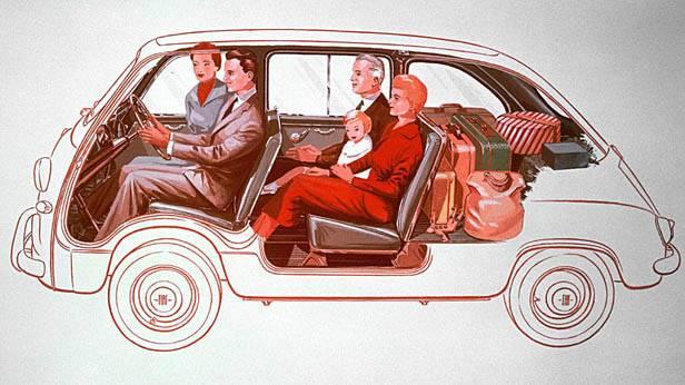 Zeichnung: Querschnitt des Fiat Multipla 600