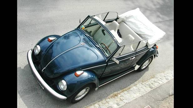 vw käfer cabrio us 1969 blau vorne oben