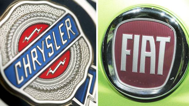 Die beiden Logos von Chrysler und Fiat