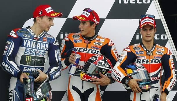 Mit Marquez, Lorenzo und Pedrosa starten beim MotoGP von Aragonien am Sonntag drei Spanier aus der ersten Reihe.