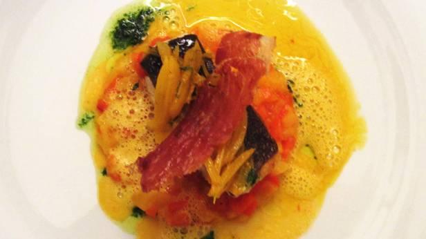 Kabeljau auf Paprika-Fenchelgemüse mit Safran-Sauce