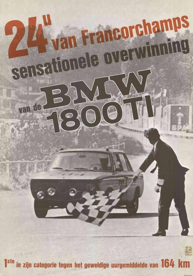 Ein Rennplakat des BMW 1800
