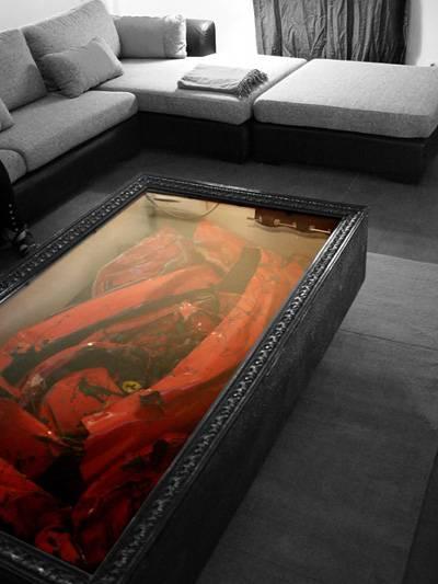Ferraritisch Ferrari Schrottwürfel wrecked Ferrari Wrack Wohnzimmertisch Wohnzimmer tisch