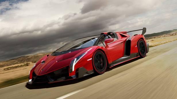 Der Lamborghini Veneno Radster seitlich