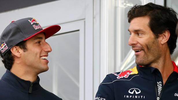 Daniel Riccardo und Mark Webber stehen nebeneinander