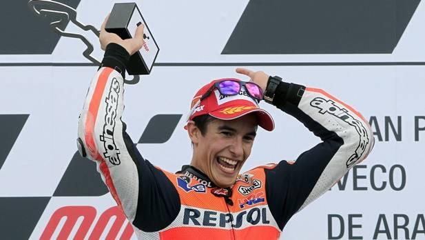 Grund zum verstärkten Jubel könnte sich für Marc Marquez am Sonntag ergeben - gewinnt er den MotoGP in Australien und wird Jorge Lorenzo höchstens Dritter, wäre der 20-Jährige vorzeitig Weltmeister.