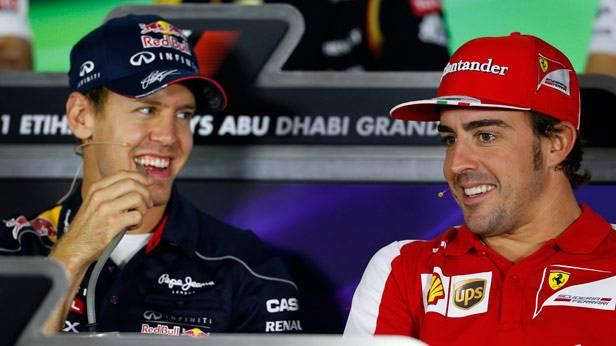 Sebastian Vettel und Fernando Alonso bei der Pressekonferenz vor dem GP von Abu Dhabi