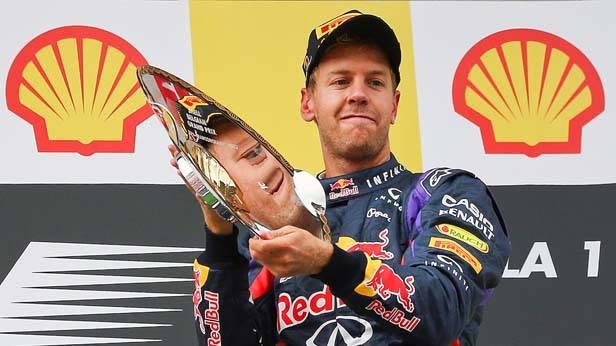 Sebastian Vettel bei der Siegerehrung des GP von Belgien