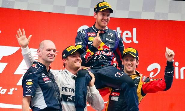 Nicht nur Newey und Vettel feiern sich gegenseitig, auch Rosberg und Grosjean gratulierten dem Weltmeister.