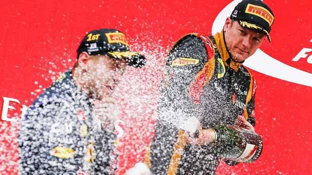 Sebastian Vettel bei der Siegerehrung in Südkorea