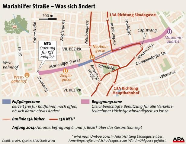 Neue Route des 13A rund um die Mariahilfer Straße