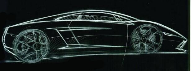 Der Lamborghini Gallardo als Zeichnung