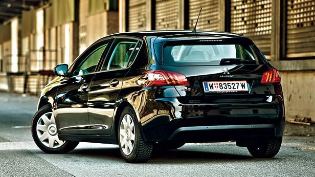 Peugeot 308 active hdi schwarz hinten heck seite