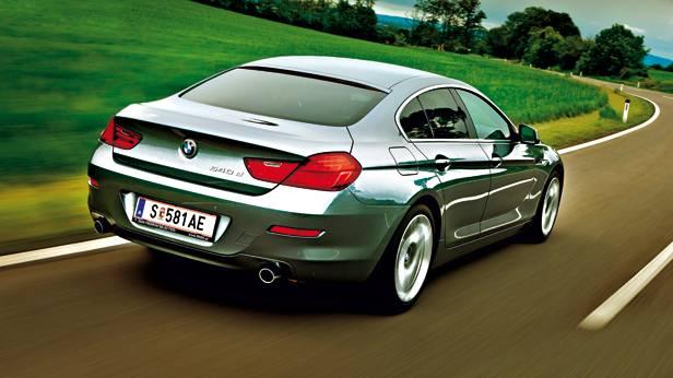 bmw 640d gran coupé grau hinten heck seite dynamisch