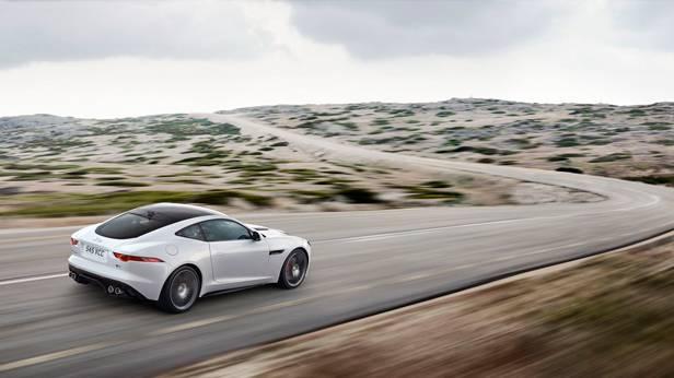 jaguar f-type coupé 2014 hinten seite weiss